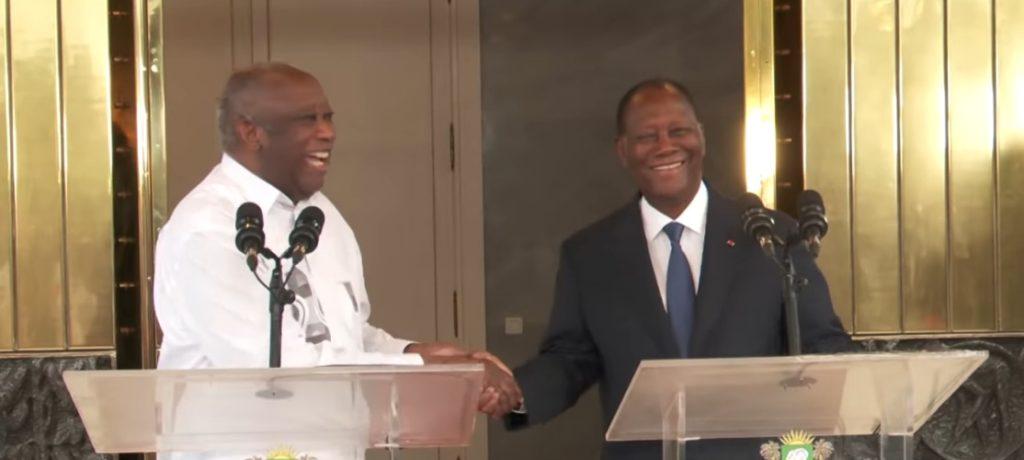 Alassane Ouattara et l'ex-président Laurent Gbagbo