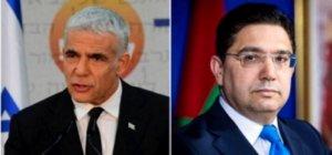 Les chefs de la diplomatie d'Israël et du Maroc Yaïr Lapid et Nasser Bourita