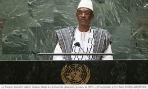 Le Premier ministre malien Choguel Maiga à la tribune de l'Assemblée général de l'ONU