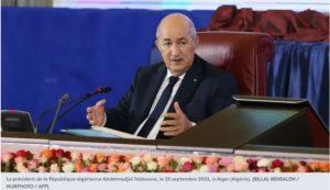 Le président de la République algérienne Abdelmadjid Tebboune