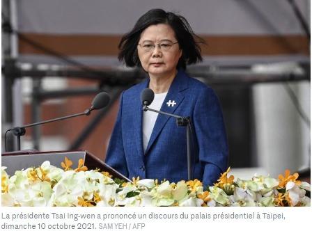La présidente Tsai Ing-wen a prononcé un discours du palais présidentiel à Taipei